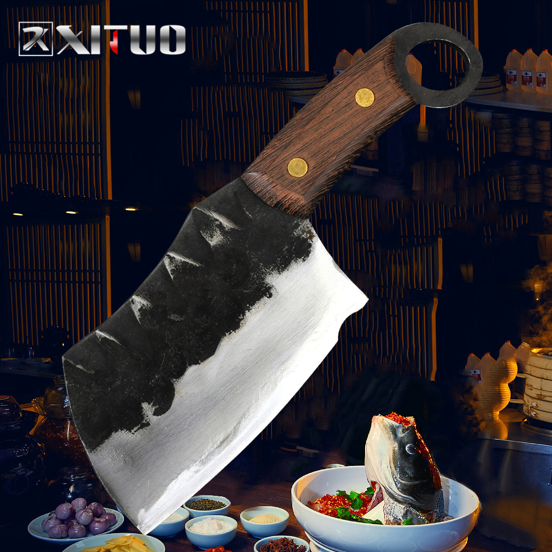 XITUO High Carbon Clad Steel Forging Handmade Knife Japanese Santoku Chef Knife Non-stick Nakiri Cleaver Gyuto Kiritsuke KnifeXITUO High Carbon Clad Steel Forging Handmade Knife Japanese Santoku Chef Knife Non-stick Nakiri Cleaver Gyuto Kiritsuke Knife