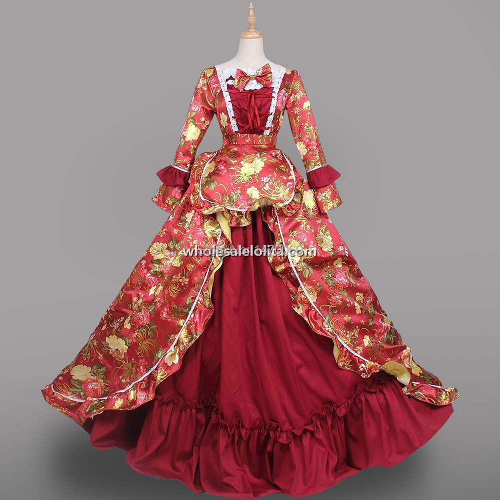18th Century Rococo Princess Wine Red Marie Antoinette Dresses - Costumes