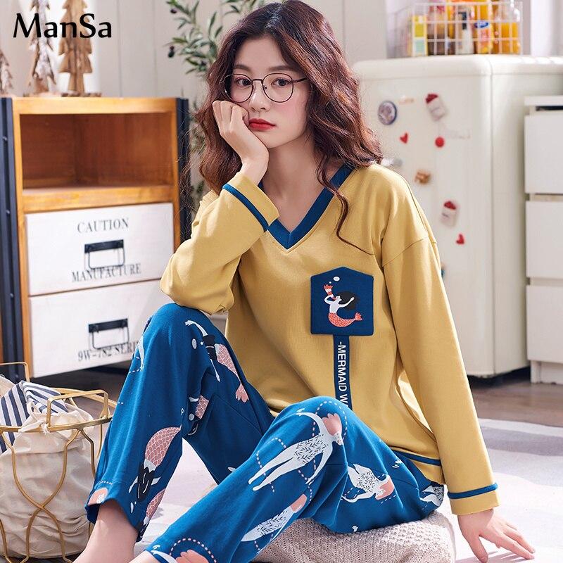 spring New Women Cotton   Pajama     Set   Long Sleeve V-neck sleepwear Casual Female   Pajamas   Comfortable Soft Big Size Woman Night Suit