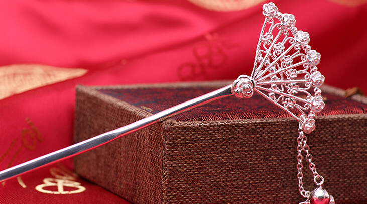 Fine 990 Silver Long Hairpin Women Lucky Fan Headgear Hairpin Accessories With Certificate cute snowflake hairpin for women