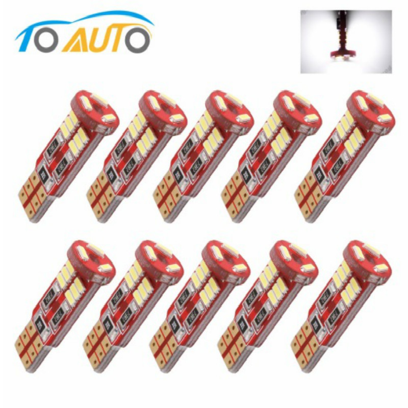 <font><b>10pcs</b></font> <font><b>T10</b></font> W5W 194 168 LED <font><b>Canbus</b></font> 4014 SMD Error Free Bulbs Car LED Interior Map Reading Lights Door License Plate Auto lamp 12V image
