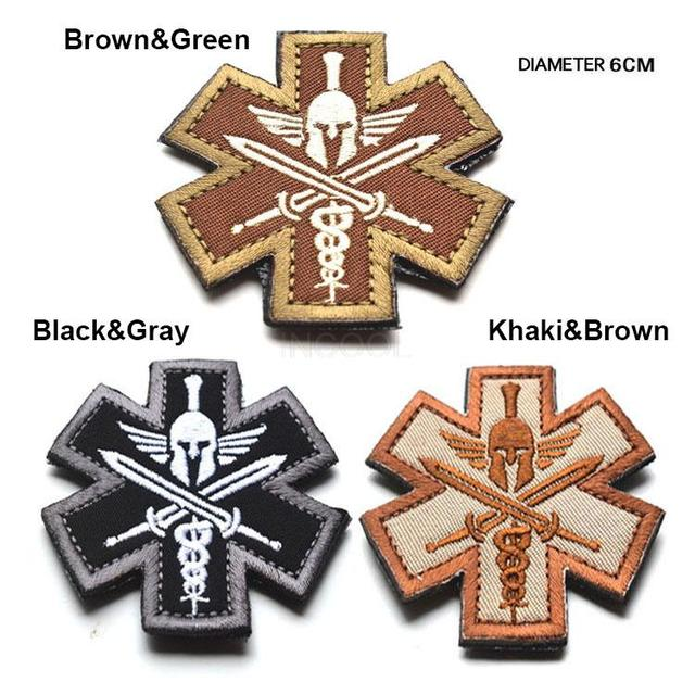 3D Spartan Medic Tactical Embroidered Patch Military EMT Morale Badge  Armband Cloth Fashion Badges e98f4abdb12