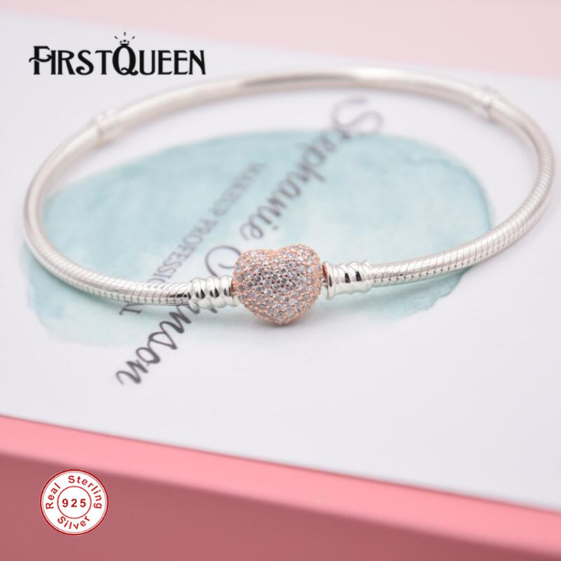 FirstQueen Pure 925 Silver Bracelet with Rose Gold Heart Clasp Fit Brand Charms Beads Anniversary DIY Gift For Jewelry Making