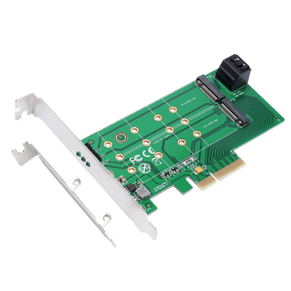 <font><b>PCIe</b></font> x 4 to NGFF <font><b>M.2</b></font> M Key (<font><b>PCIe</b></font>) SSD+SATA to 2 x NGFF <font><b>M.2</b></font> B Key (SATA) SSD <font><b>adapter</b></font> card Supports <font><b>PCIe</b></font> <font><b>x4</b></font> or x8 or x16 slot image