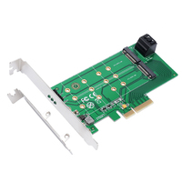 PCIe x 4 to NGFF M.2 M Key (PCIe) SSD+SATA to 2 x NGFF M.2 B Key (SATA) SSD adapter card Supports PCIe x4 or x8 or x16 slot