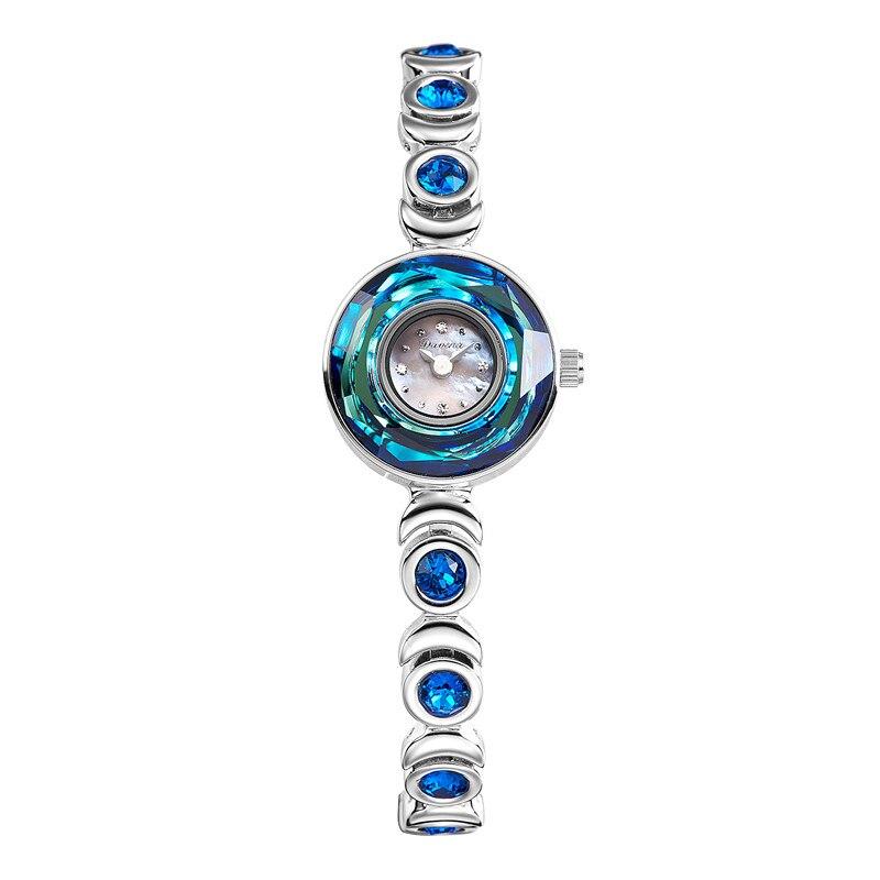 New Arrived Elegant Women Luxury Crystals Bracelet Watches Original Japan Quartz Shell Dress Clock 2 Hands