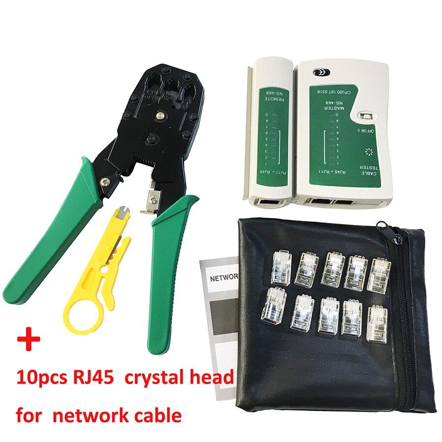 Сетевой кабель клещи зачистки обжимные клещи + Профессиональный сетевой кабель тестер RJ45 RJ11 RJ12 CAT5 utp кабель lan тестер