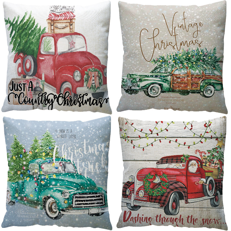 2019 New Year Christmas Decorations for Home Natal Merry Christmas Tree on The Car Linen Cushion Pillowcase 45x45cm Wholesale (1)