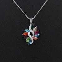 Novas Mulheres De Luxo Multicolor Áustria Cristal Colares Real 925 Prata Esterlina CZ Pingente de Jóias Femininas
