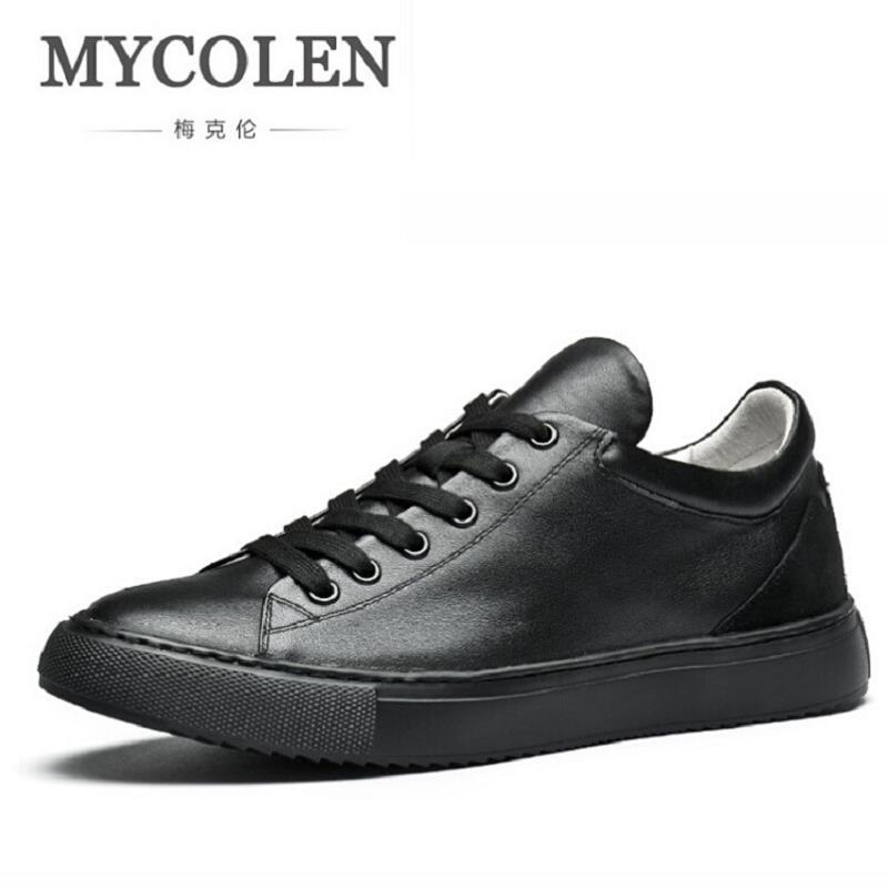 MYCOLEN Handmade Luxury Men Shoes Brand Leisure Shoes Lace-Up Retro Breathable Shoes Leather Flats Shoes Mens Footwear