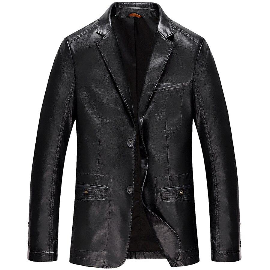 2018 Spring New Fashion Slim Jaqueta Masculina Couro Turn Down Collar Blazer Mens Leather Jacket