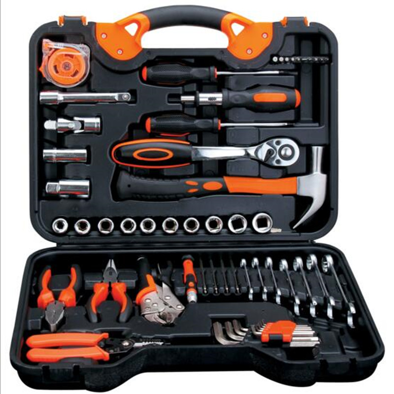 free shipping 55pcs repair tool set hammer plier screwdriver allen socket wrench ratchet wrench tool for car repair tool box 46pcs 1 4 inch high quality socket set car repair tool ratchet set torque wrench combination bit a set of keys chrome vanadium