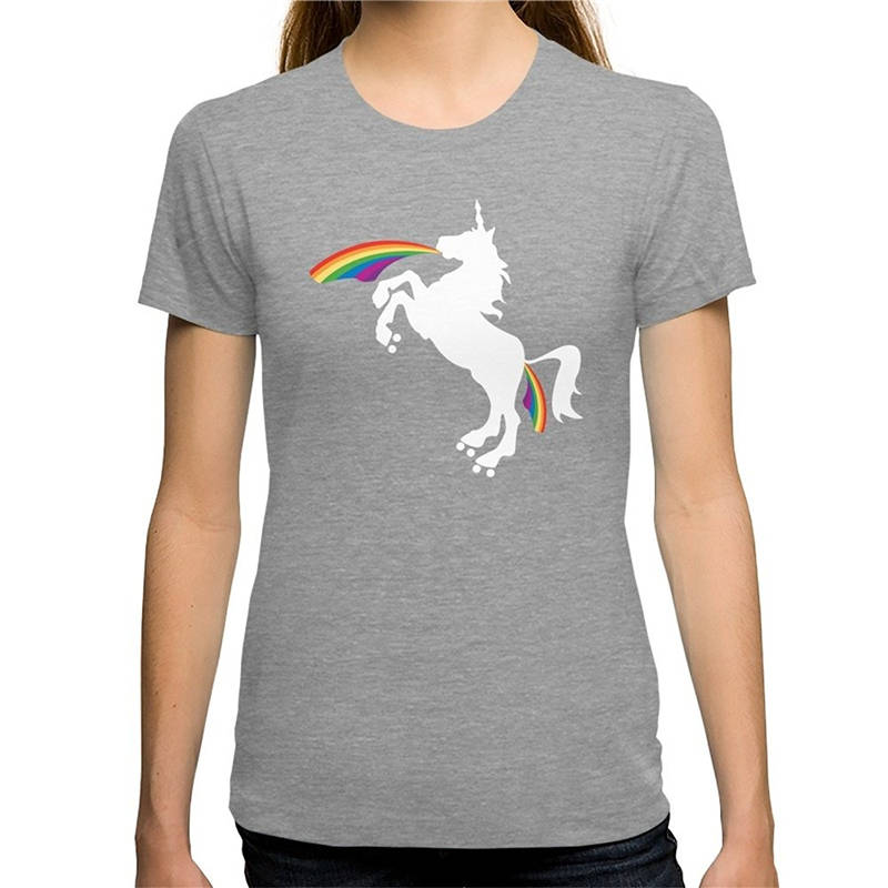 Brand WomenS O-Neck Graphic Short Sleeve Double Rainbows Of Roller Derby T Shirts