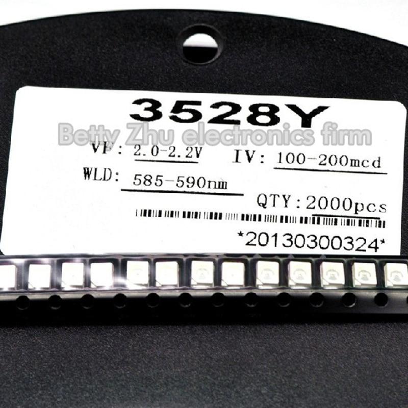 2000PCS/LOT 1210 3528 SMD LED bright yellow light-emitting diodes