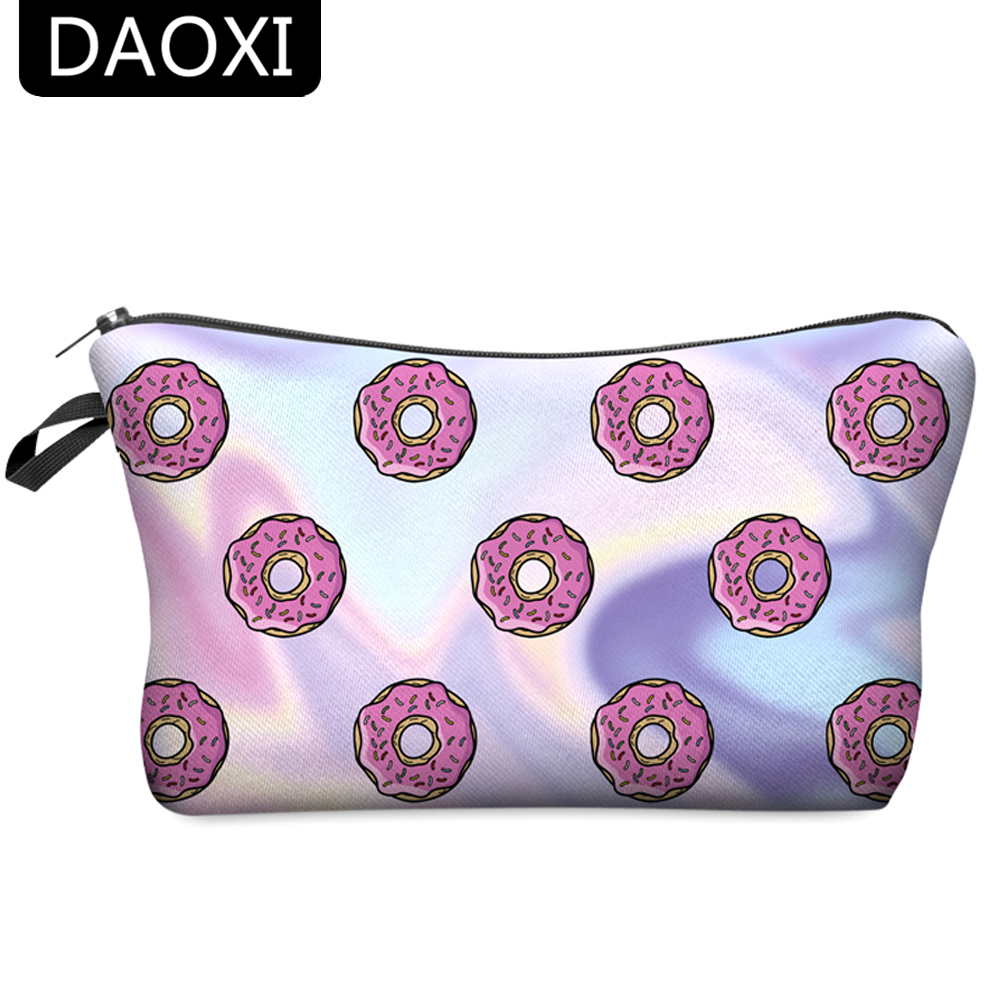 DAOXI Donuts Cosmetic Bags 3D Printing Travelling Organizer Necessaries For Women's Makeup