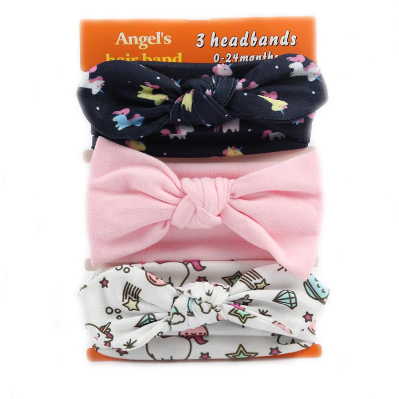 3 Pieces/lot Cotton Rabbit Ear Headband For Girls Knotted Bo