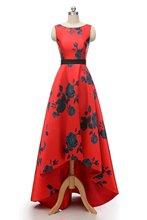 цена на Rose Print Homecoming Dresses High Low Scoop Lace-up Sleeveless Semi Formal Dress Elegant Satin Graduation Dresses