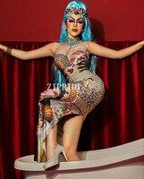 Colorful Rhinestones Women's Birthday Celebrate Dress Diamond Outfit Evening Dance DJ Show Female Singer