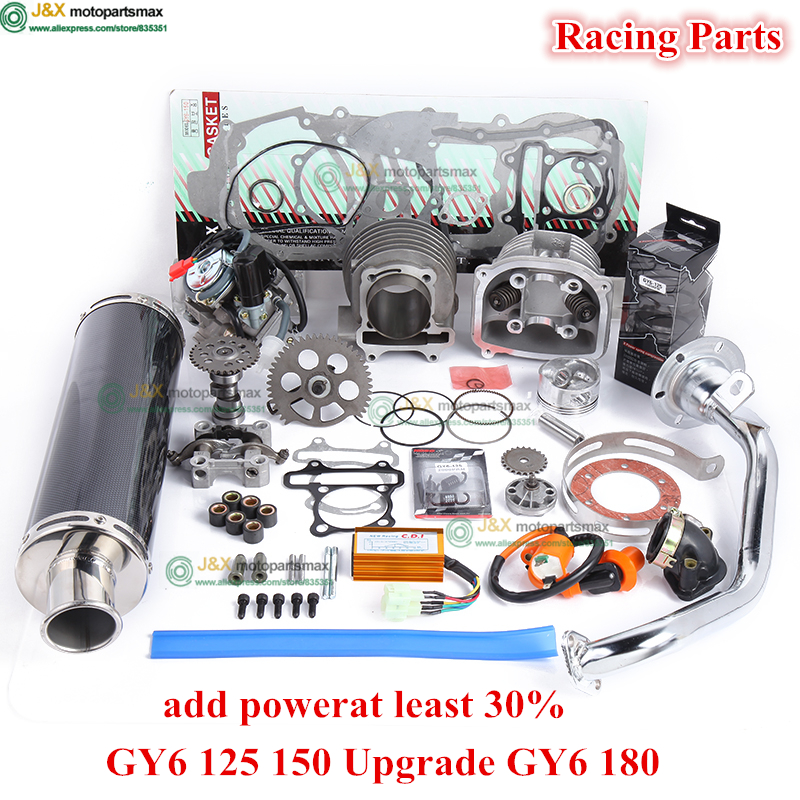 Цзя Двигатель GY6 125 150 uprade GY6 180cc 4 тактный диаметр 58.5 мм цилиндр комплект Racing A14 распределительного карбюратор cdi катушки выхлопных газов