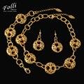 Cuentas de Boda Africanos moda Nigerianos Sistema de La Joyería Con Encanto 24 K Oro Verdadero Plateado Collares Establece Dubai Grandes Conjuntos de Joyería de Fantasía