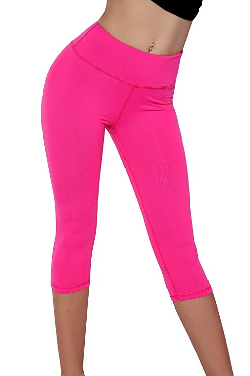 ICOSTUMES Womens Mid-Calf Length High Waisted Leggings Non See-Through Fabric Leggings Waistband Elastic Fitness Pants