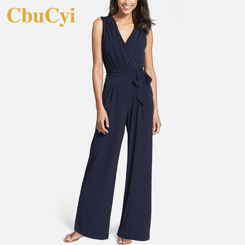CbuCyi Fashion Women's Clothing Summer   Jumpsuits   Sleeveless V-neck Solid Siamese Trousers Rompers Female Casual Lace Up   Jumpsuit