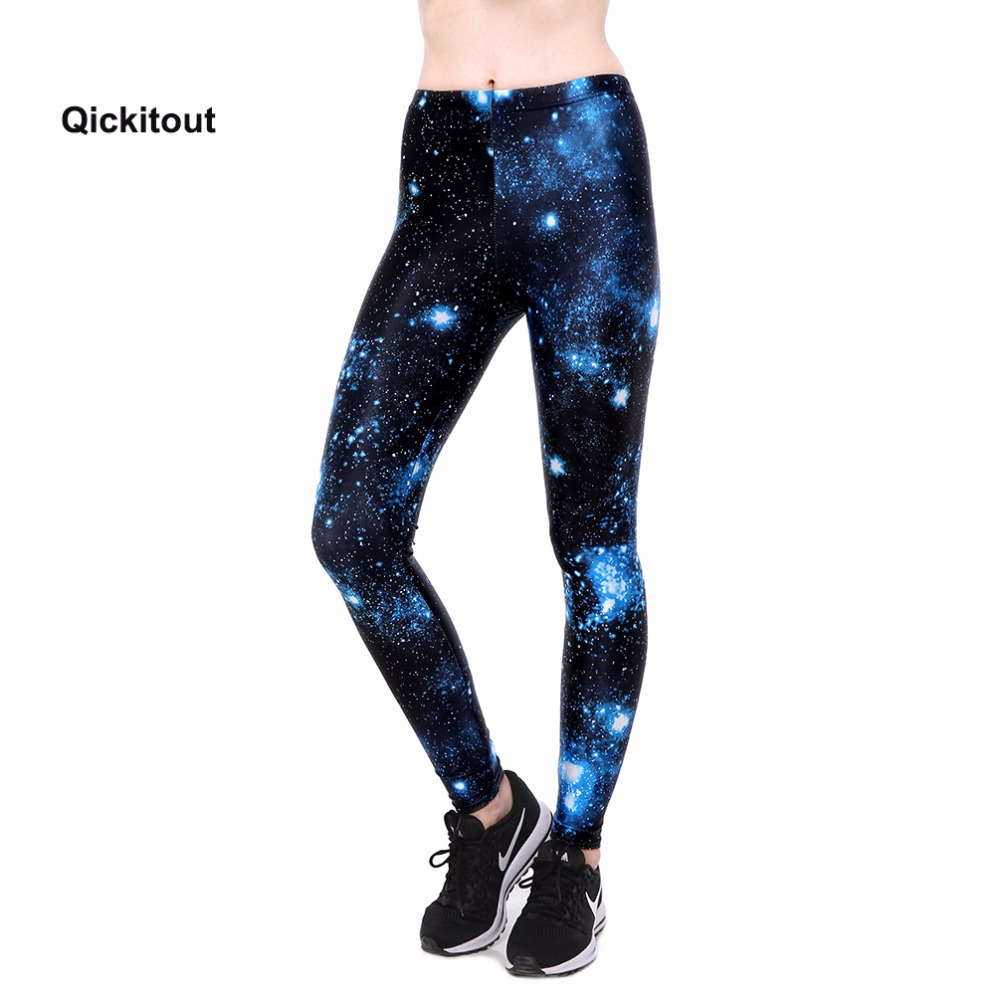 Qickitout 2018 Women Fashion   Leggings   Black Galaxy Blue Cloud Casual Style High Waist Long Pants Breathable Quick Dry Trousers