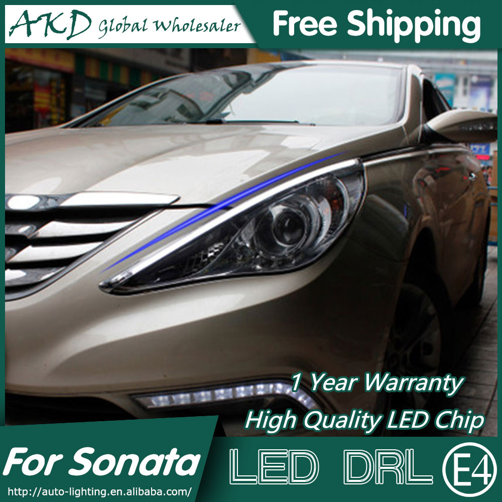 AKD Car Styling LED DRL for Hyundai Sonata 2011-2014 Sonata 8 Eye Brow Light LED External Lamp Signal Parking Accessories akd car styling led drl for kia k2 2012 2014 new rio eye brow light led external lamp signal parking accessories