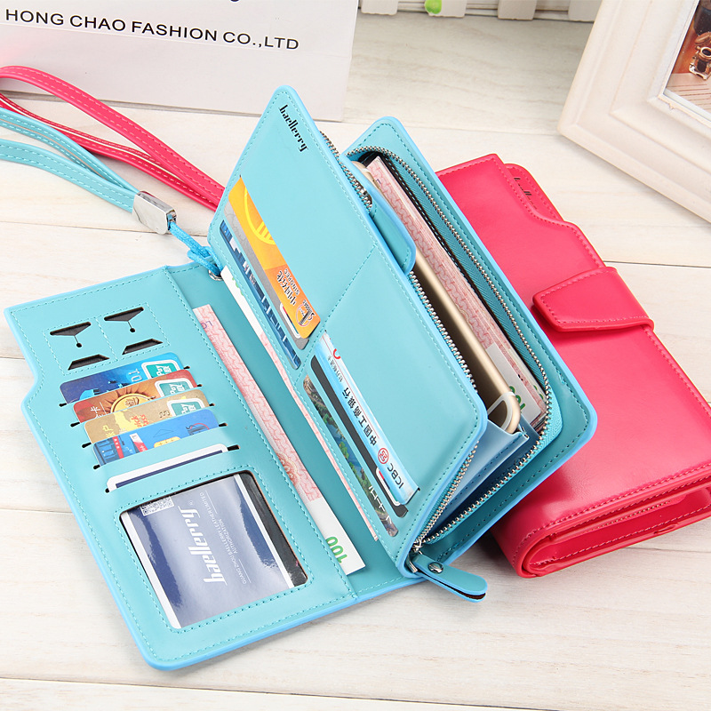(8 Colors) Women Casual Long Wallet Multifunction Ladies Clutch Wallet Large Zip Female Buckle Multicolor With Hand Strap Purse