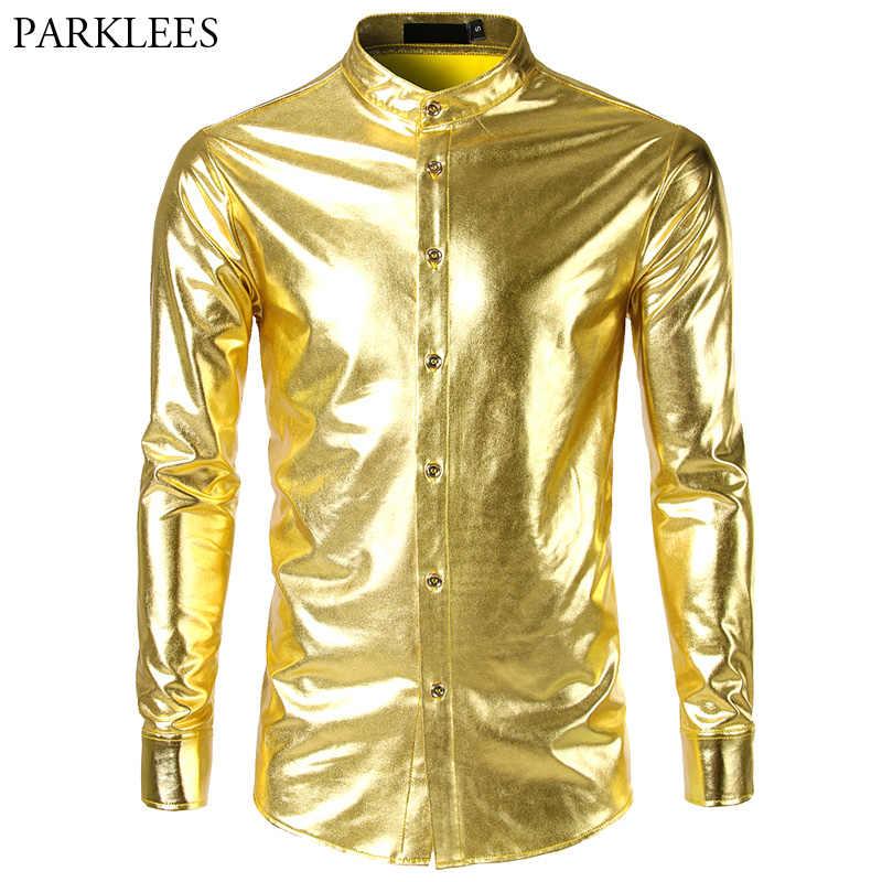スタンド襟黒ゴールドシャツ男性 2018 ブランド光沢のあるメタリックメンズドレスシャツカジュアルスリムフィットタキシードナイトクラブカミーサ masculina