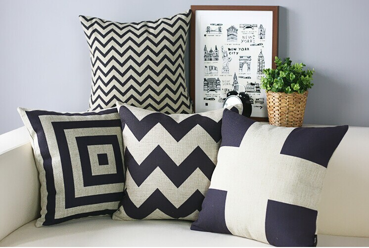 Classic retro geometric print black and white cushion - Cojines modernos para sofas ...