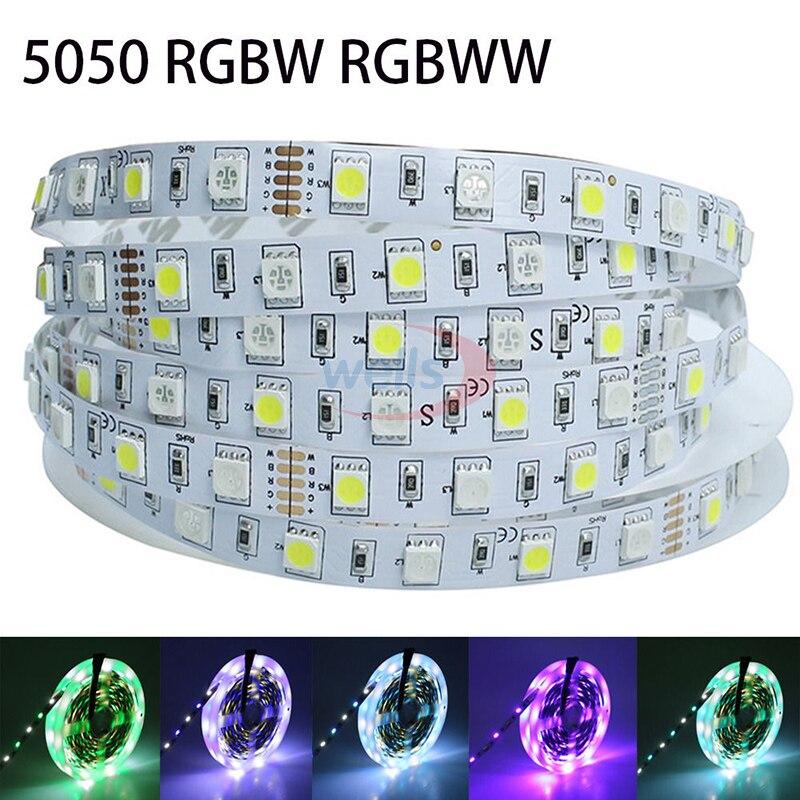 5 м/лот 5050 RGBW Светодиодные ленты smd 60leds/м гибкий свет RGB + белый/теплый белый Красочные полосы освещение 12 В-водонепроницаемый ...