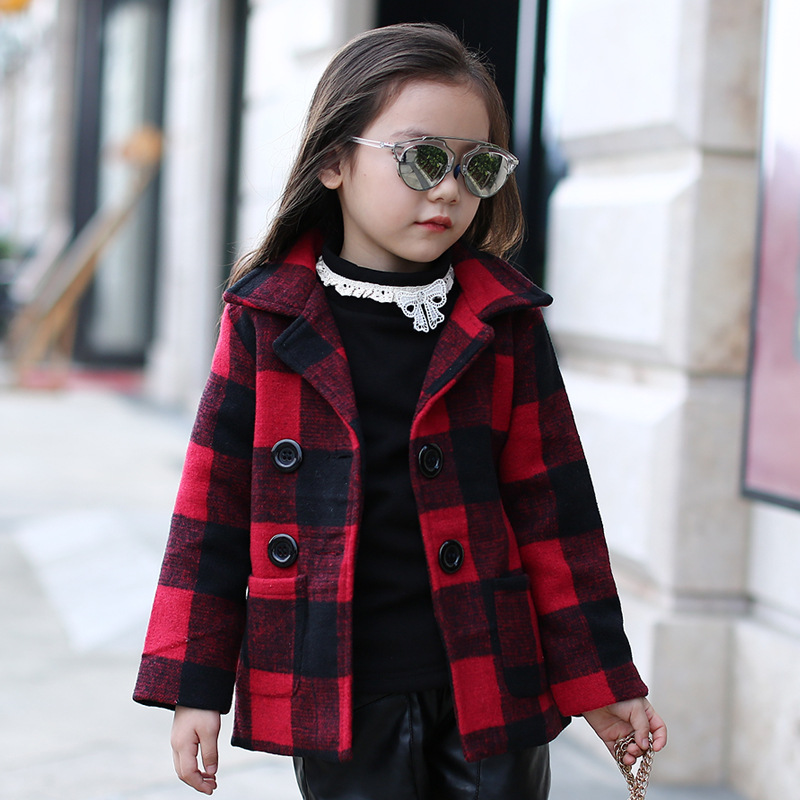 Kids girls spring / autumn plaid jacket 2017 new baby girls clothing fashion woolen coat 4/5/6/7/8/9/10/11/12/13 years colorectal cancer