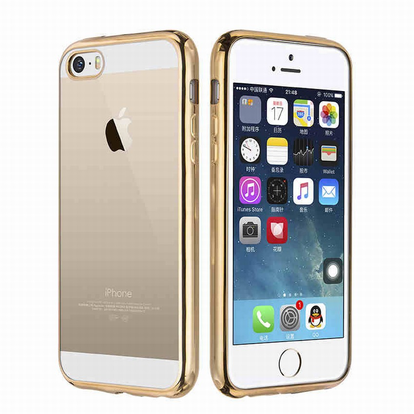 size 40 235d1 0375b For telefoon hoesjes iPhone 5S Case bling plating border frame Clear ...