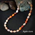 Red Natural Agate Stone Necklaces For Women Fashion Brand Jewelry Lobster Clasp Geometry Beads Choker Necklace Colar Feminino
