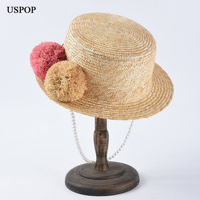 USPOP 2019 New Women straw sun hats natural wheat straw hats cute pompoms straw hat pearl straw beach hats in Women 39 s Sun Hats from Apparel Accessories