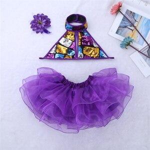 Image 5 - Viola Ragazze Costumi di Danza Moderna Sala Da Ballo Danza Halter Shiny Paillettes Crop Top con Gonne Clip di Capelli di Balletto Jazz Dancewear