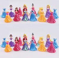 14PCS/ Set Disney Long Cinderella Snow White Dress Up Detachable Dolls Princess 8cm Girl Toys for children Kids Ornaments Gift