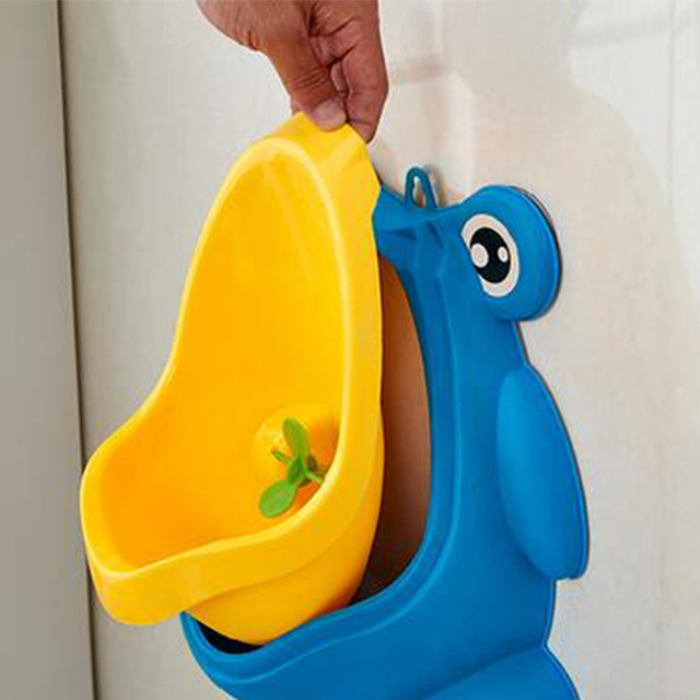 Cute Frog Potty Toilet Urinal Pee Trainer – Blue with brush