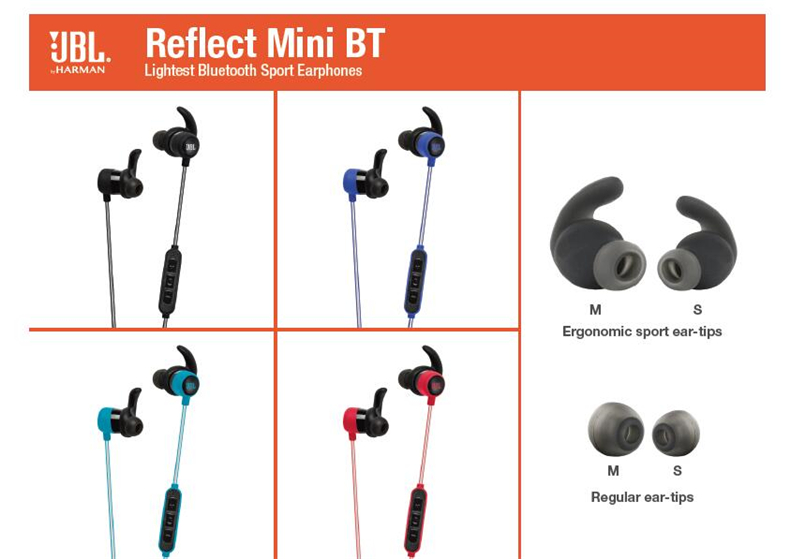 JBL Reflect Mini BT Wireless Bluetooth Headphones In-Ear Ergonomic Music Sport Run Ear-tips With Microphone Sweat Proof Earphone