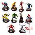 10 pçs/lote do super herói da Marvel os vingadores liga da justiça homem de ferro capitão américa Thor Hulk Wolverine Action Figure Brinquedos brinquedo