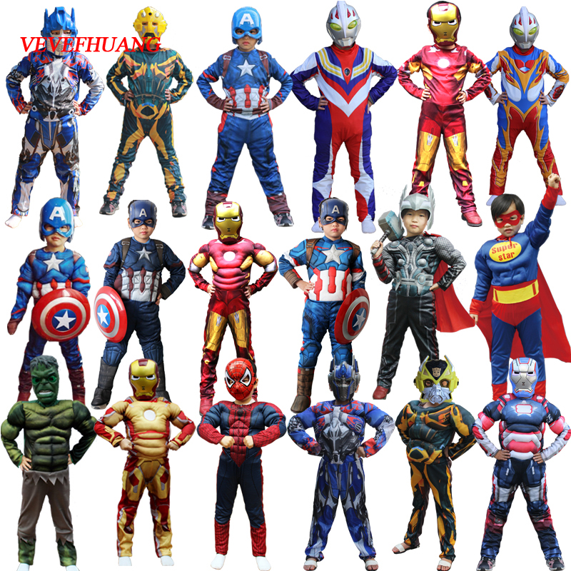 VEVEFHUAG Christmas Boys Muscle Super Hero Captain America Costume SpiderMan Hulk Batman Avengers Costumes Cosplay for Kids Boy boys children s clothing muscle super hero captain america costume spiderman batman hulk avengers new cosplay children pajamas