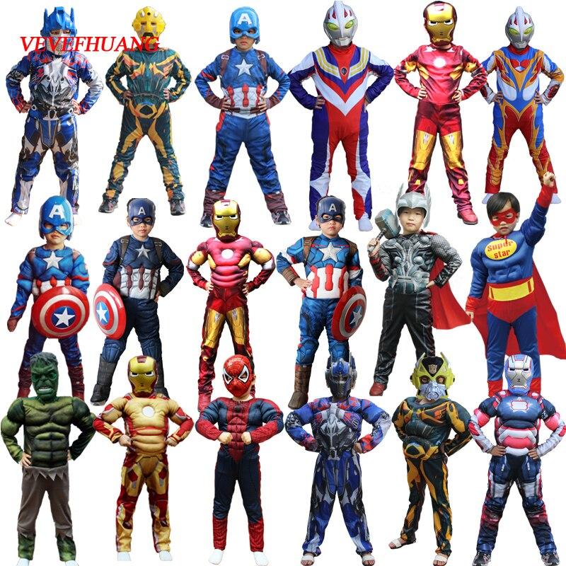 VEVEFHUAG Weihnachten Jungen Muscle Super Hero Captain America Kostüm SpiderMan Hulk Batman Avengers Kostüme Cosplay für Kinder Jungen
