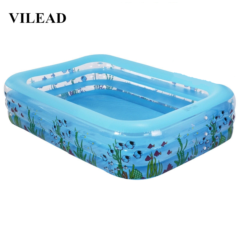 VILEAD 196*143*60cm Family Children's Inflatable Pool Infant Swimming Pool Ball Basin Children Dabble Paddle Ocean Ball Pool thicker version deluxe edition 2 meters large family luxury inflatable swimming pool game pool children s play pool