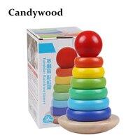 צעצועי עץ בלוקים קשת צבעוני חמוד קשת Stacker Jenga מגדל עץ כוס כיף לילדים בייבי T