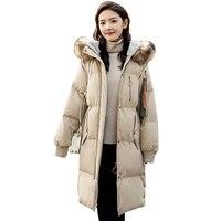 Down Jacket Female Long Outwear 2018 Winter New Women Korean Fashion over the knee thickening Big Fox Fur Collar Warm Coat ky241