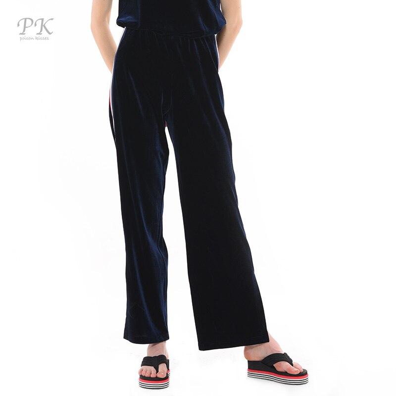 PK velvet pants women blue tuxedo nylon ribbon straight trousers women 2018 pantalon femme ete leggings blue velvet tuxedo pant