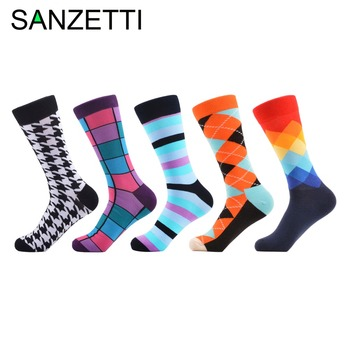 SANZETTI 5 pair/lot Cool Men's Funny Crew Skateboard Socks Colorful Combed Cotton Causal Dress Socks Men's Novelty Gifts