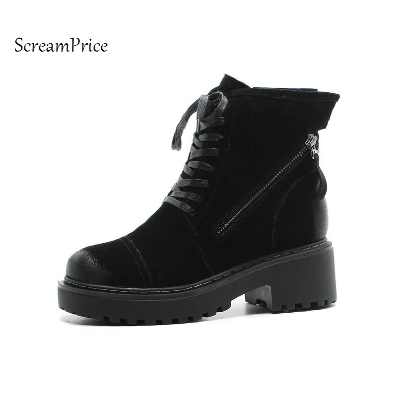 Genuine Leather Winter Warm Woman Snow Boots Platform Comfort Thick Heel Ankle Boots for Women Lace Up Combat Boots Shoes Black new high heel thick heel ankle boots for women platform lace up women boots casual shoes woman