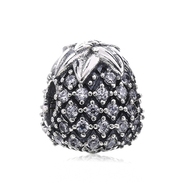 52e98d868 Authentic 925 Sterling Silver Sparkling Pineapple Charm Beads Fit Original  Pandora Bracelets & Bangles Necklace Women Jewelry